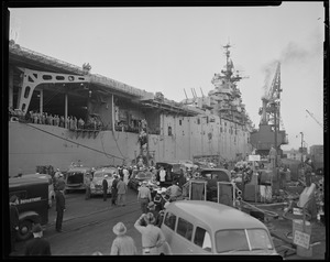 Fire on aircraft carrier USS Leyte at West Jetty, South Naval annex, S. Boston