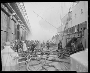 Fire aboard ship at dock