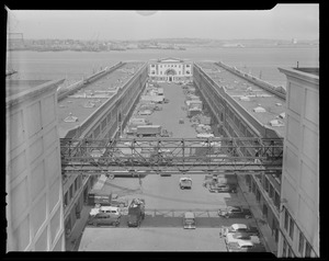 Fish pier from cold storage, toward administration building and East Boston