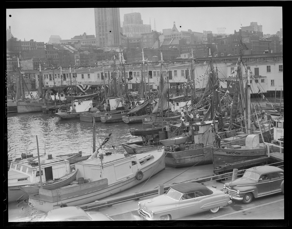 Harbor Views: Area of Boston T-Wharf - fishing boats