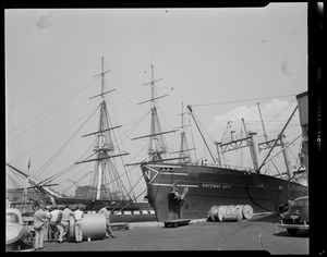 """""""Gateway City"""" docked next to USS Constitution"""