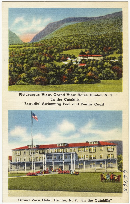 Picturesque View Grand Hotel Hunter N Y In The Catskills Beautiful Swimming Pool And Tennis Court