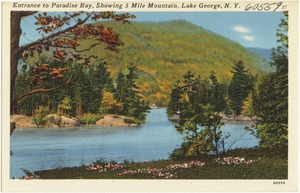 Entrance to Paradise Bay, showing 5 Mile Mountain, Lake George, N. Y.