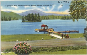 Algonquin Bay, showing Picnic Islands, Bolton Landing, N. Y.