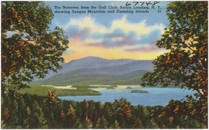 The Narrows, from the golf club, Bolton Landing, N. Y., showing Tongue Mountain and camping islands