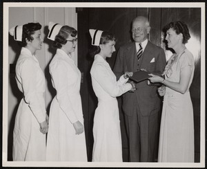 Faulkner Hospital School of Nursing graduates receiving diplomas
