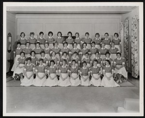 Portrait of forty students at the Faulkner Hospital School of Nursing