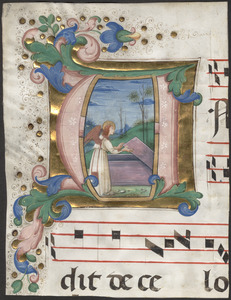 Cutting of initial A from a 15th-century antiphonal