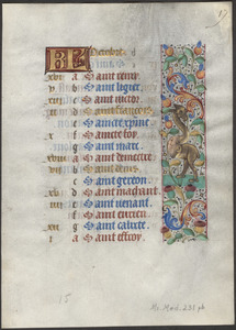 Single leaf from a 15th-century book of hours, use of Amiens (?)