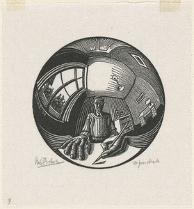Self-portrait in spherical mirror