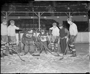 Art Ross Jr. and Benny Grant on ice at new Boston Garden, 1928-1929