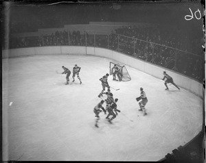 Action on the ice at Boston Garden, including Hitchman and Thompson, 1930-1931