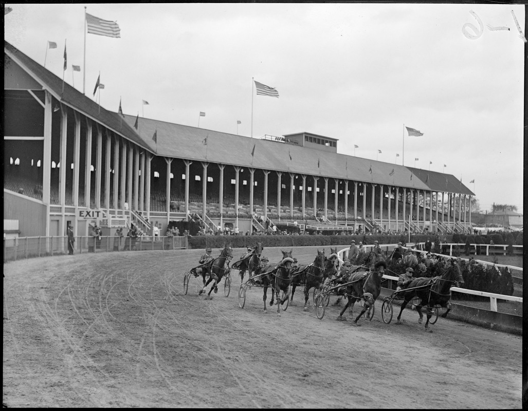 2.18 race at the first turn in the fourth harness race at Brockton Fair