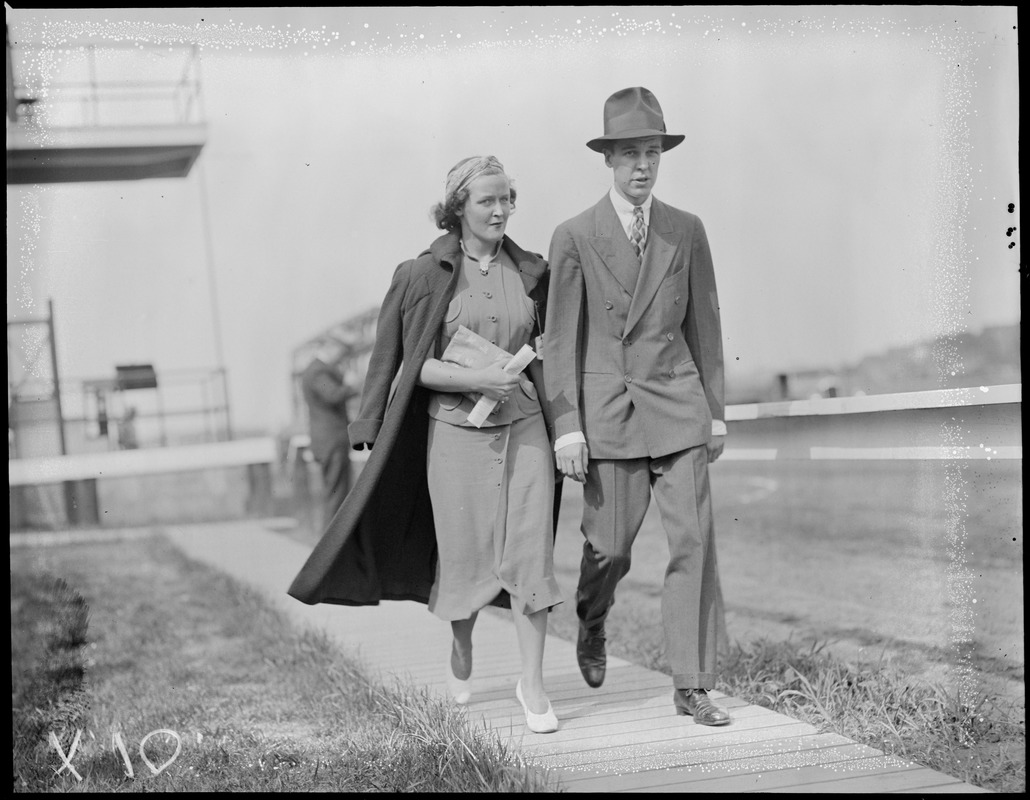 Unidentified couple at Suffolk Downs - see program