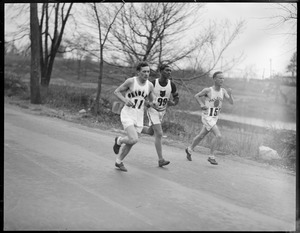 B.A.A. marathon runners Hans Oldag (11), Ford Clark (99), and Clarence DeMar (157)