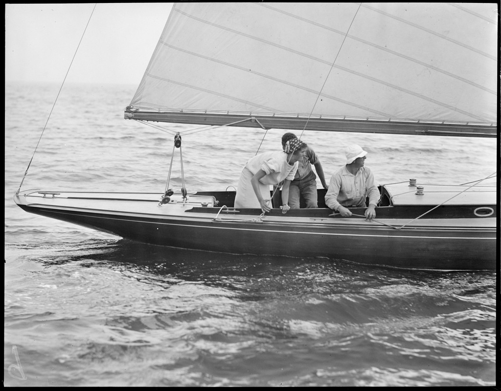 Elizabeth Hovey sailing in International Races off Marblehead