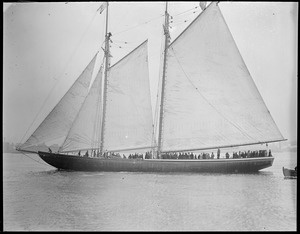Close up of the cup defender Mayflower on her trial trip
