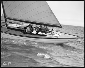 8-meter boat no. 17 racing at Marblehead