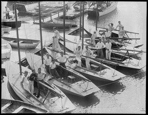 Crews pose with their boats, Squantum Yacht Club