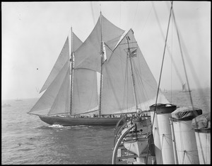 The Bluenose under sail off Gloucester