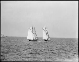 Start of Fisherman's race (L): no. 1 Bluenose, (R) no. 7 Henry Ford