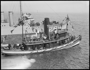 Tug and destroyer at Fisherman's race off Gloucester. Tug 'Neptune', Boston towboats, USS Flosser?
