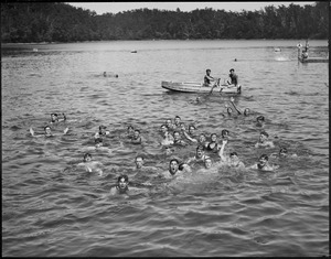 Boys swimming in lake