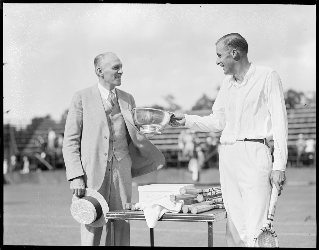 Irving Wright giving 1st Professor Cup to Bill Tilden at Longwood