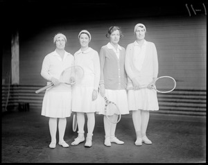 Finalists in Indoor Doubles at National Championship at Longwood. L-R: Mrs. G.W. Wightman / Miss Sarah Palfrey / Miss Edith Sigourney / Miss Marjorie Morrill.