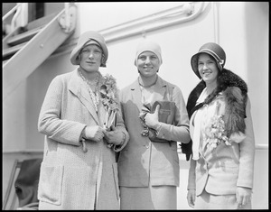 Left to Right: Miss Edith Cross, Miss Mary Greef, Miss Sarah Palfrey, Boston, on SS Scythia enroute to England