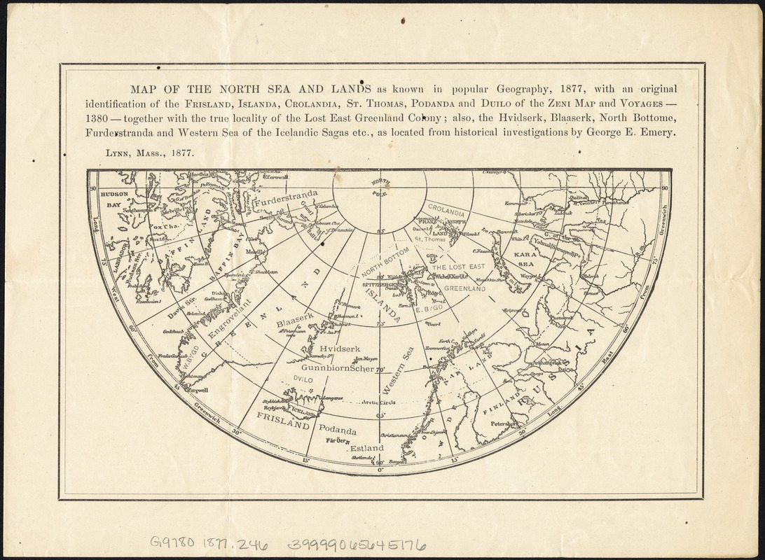 Map of the North Sea and lands as known in popular geography, 1877, with an original identification of the Frisland, Islanda, Crolandia, St. Thomas, Podanda, and Duilo of the Zeni map and voyages