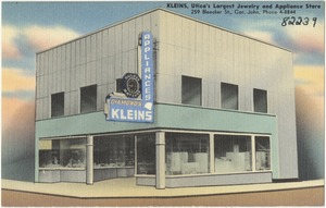 Kleins, Utica's largest jewelry and appliance store, 259 Bleecker St., Cor. John, Phone 4-8844