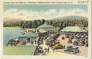 Caroga Lake and midway at Sherman's Bathing Beach, West Caroga Lake, N. Y.