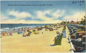 Bathing beach looking south at Fort Lauderdale, Florida