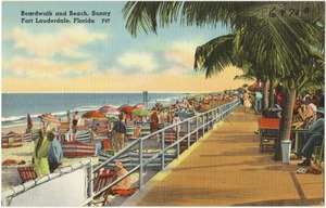Boardwalk and beach, sunny Fort Lauderdale, Florida