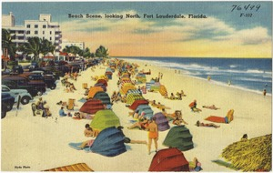 Beach scene, looking north, Fort Lauderdale, Florida