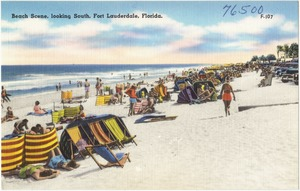 Beach scene, looking south, Fort Lauderdale, Florida