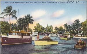 Boating in downtown business district, Fort Lauderdale, Florida