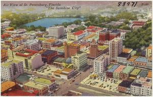 "Air view of St. Petersburg, Florida, ""the sunshine city"""