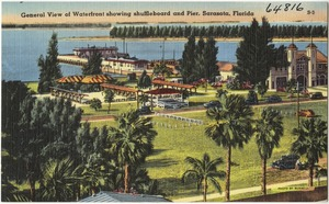 General view of waterfront showing shuffleboard and pier, Sarasota, Florida