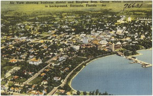 Air view showing business district and Ringling Bros. Circus winter headquarters in background, Sarasota, Florida