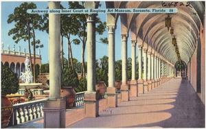 Archway along inner court of Ringling Art Museum, Sarasota, Florida