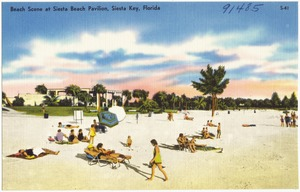 Beach scene at Siesta Beach Pavilion, Siesta Key, Florida