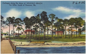 Cottages along the shore at Wilson's Beach, ten miles south of Panacea, Fla.