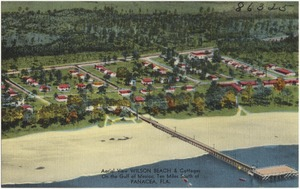 Aerial view, Wilson Beach & Cottages, on the Gulf of Mexico, ten miles south of Panacea, Fla.