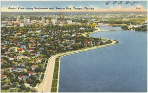 Aerial view along boulevard and Tampa Bay, Tampa, Florida