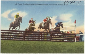A jump in the Sandhills Steeplechase, Southern Pines, N. C.