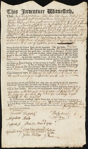 Document of indenture: Servant: Pain, Sarah. Master: Jackson, Thomas [Tho] Jr. Town of Master: Boston