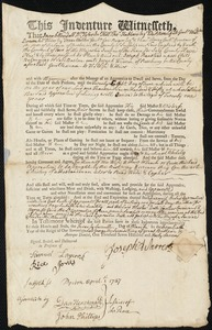 Document of indenture: Servant: Ranstead, Joseph. Master: Warren, Joseph. Town of Master: Roxbury