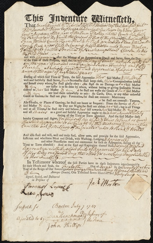 Document of indenture: Servant: Ray, Sarah. Master: Morton, James. Town of Master: Litchfield